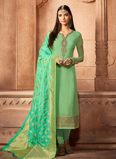 Light Green Embroidered Straight Suit