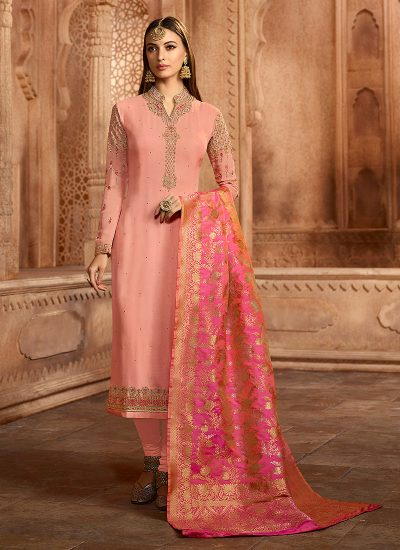 Light Pink Embroidered Straight Suit