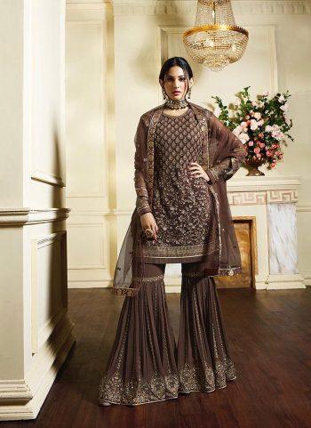 Dark Brown Embroidered Gharara Suit