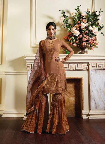Peach and Orange Embroidered Gharara Suit