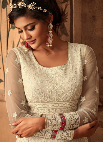 Offwhite Heavy Embroidered Anarkali