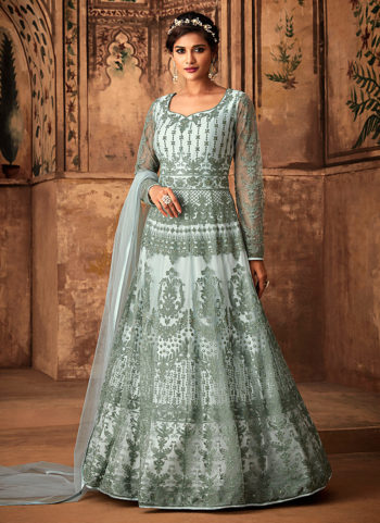 Light Blue Heavy Embroidered Anarkali