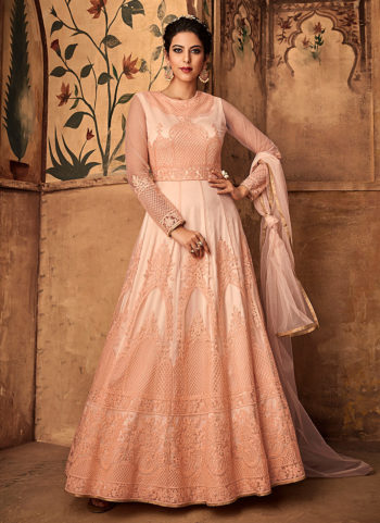 Light Peach Heavy Embroidered Anarkali