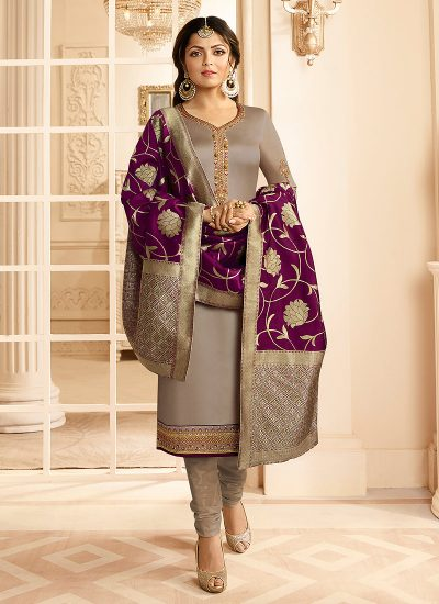 Grey and Gold Embroidered Straight Suit