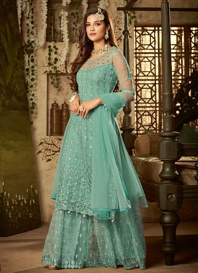 Sea Green Embroidered Palazzo Suit