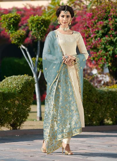 Cream Embroidered Straight Suit