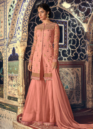Peach and Gold Embroidered Gharara Suit