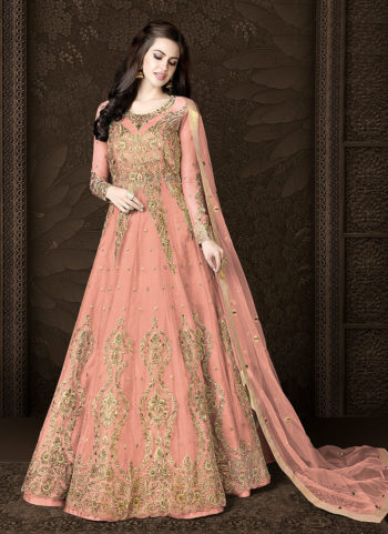 Peach and Gold Embroidered Lehenga/ Pant Style Anarkali