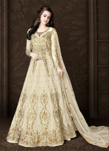 Offwhite and Gold Embroidered Lehenga/ Pant Style Anarkali