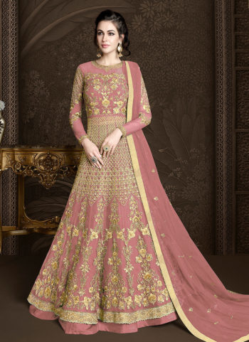 Pink and Gold Embroidered Lehenga/ Pant Style Anarkali