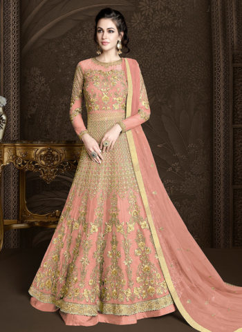 Light Pink and Gold Embroidered Lehenga/ Pant Style Anarkali