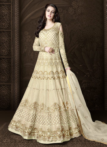 Cream and Gold Embroidered Lehenga/ Pant Style Anarkali