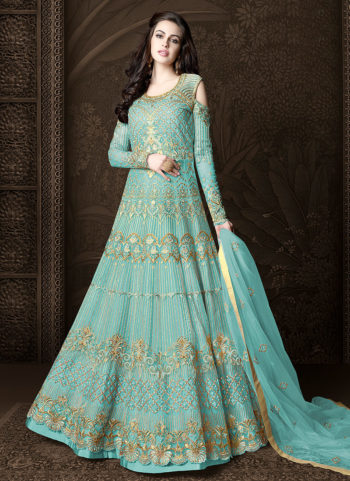 Blue and Gold Embroidered Lehenga/ Pant Style Anarkali