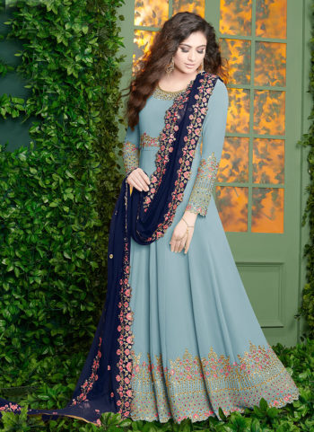 Light Blue and Gold Embroidered Anarkali