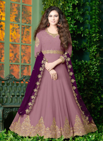 Light Purple and Gold Embroidered Anarkali