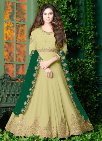 Light Green and Gold Embroidered Anarkali
