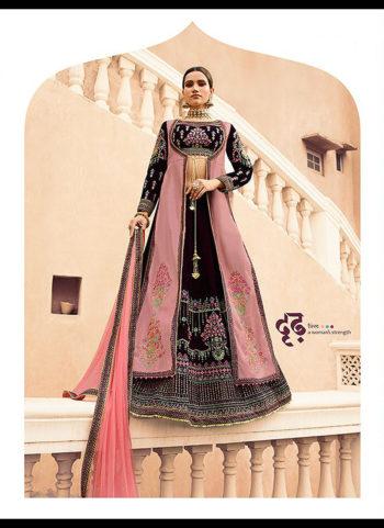 Black and Pink Embroidered Lehenga