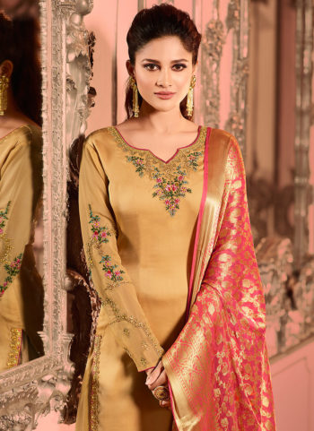 Golden Beige Embroidered Palazzo Suit