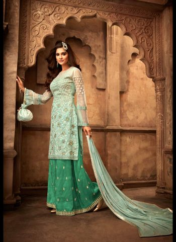 Light Green and Green Embroidered Palazzo Suit