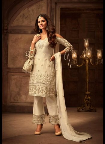 Cream Embroidered Pant Style Suit