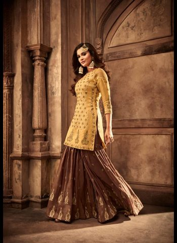 Yellow and Brown Embroidered Gharara Suit
