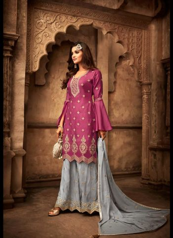 Pink and Grey Embroidered Palazzo Suit