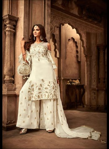 Offwhite and Gold Embroidered Palazzo Suit