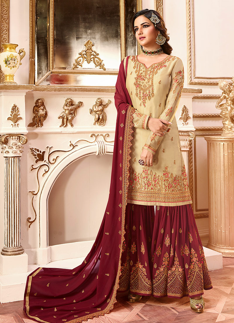 Cream and Red Embroidered gharara Suit