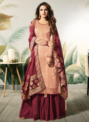Peach and Red Embroidered Palazzo Suit