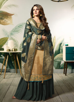 Beige and Green Embroidered Palazzo Suit
