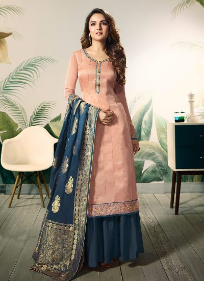 Light Pink and Blue Embroidered Palazzo Suit