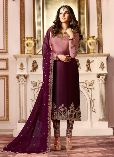 Pink and Purple Embroidered Straight Pant Suit
