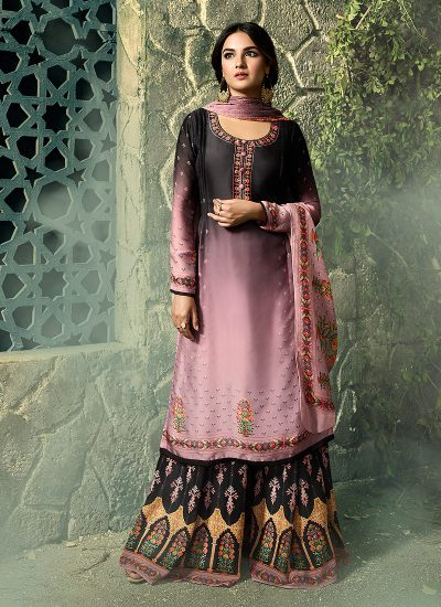 Black and Pink Embroidered Gharara Suit