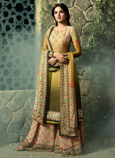 Green Shaded Embroidered Gharara Suit