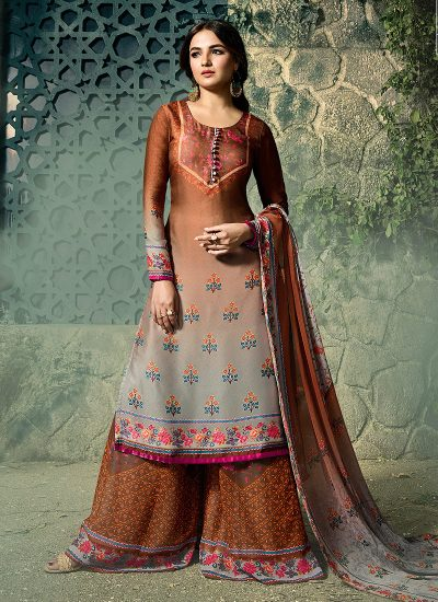 Brown and Grey Embroidered Gharara Suit