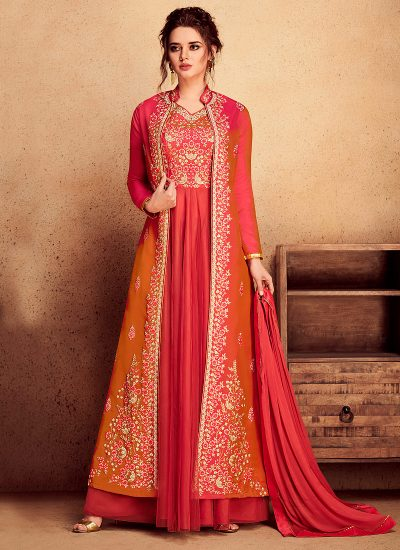 Red Embroidered Jacket Style Anarkali