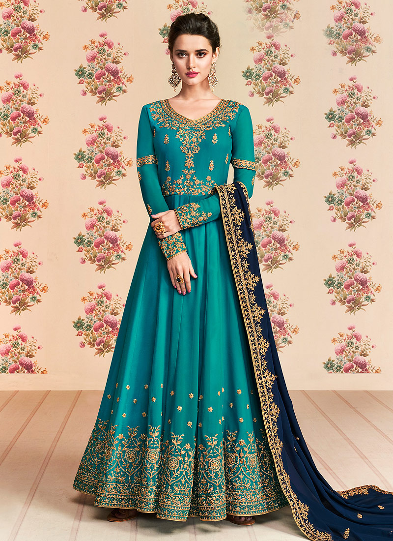 Sea Green and Blue Embroidered Anarkali