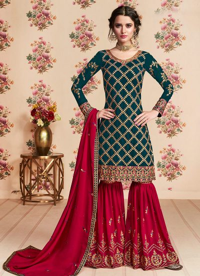 Teal and Red Embroidered Gharara Suit