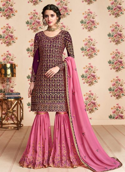 Magenta and Pink Embroidered Gharara Suit
