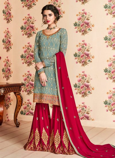 Light Blue and Red Embroidered Gharara Suit