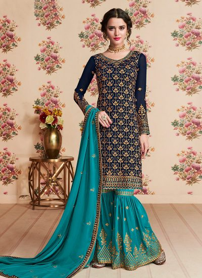 Blue and Teal Embroidered Gharara Suit