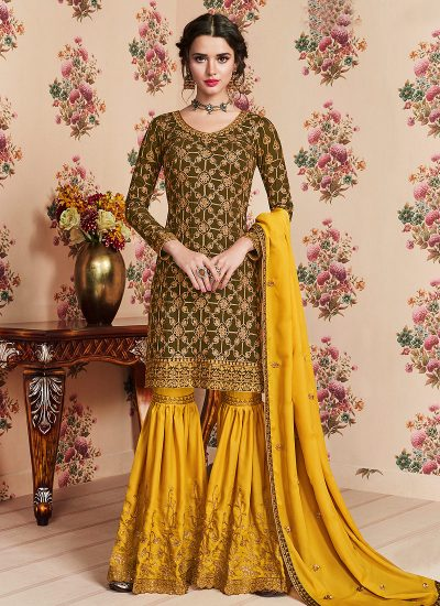 Heena Green and Yellow Embroidered Gharara Suit