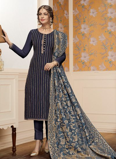 Dark Blue Embroidered Straight Cut Suit