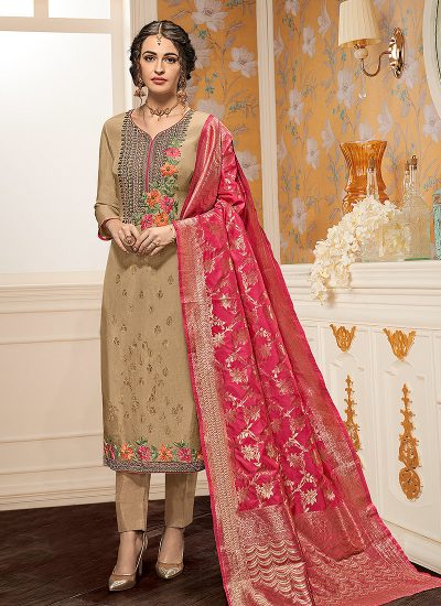 Beige and Pink Embroidered Straight Cut Suit
