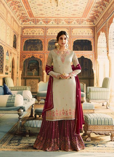 Grey and Red Embroidered Gharara Suit