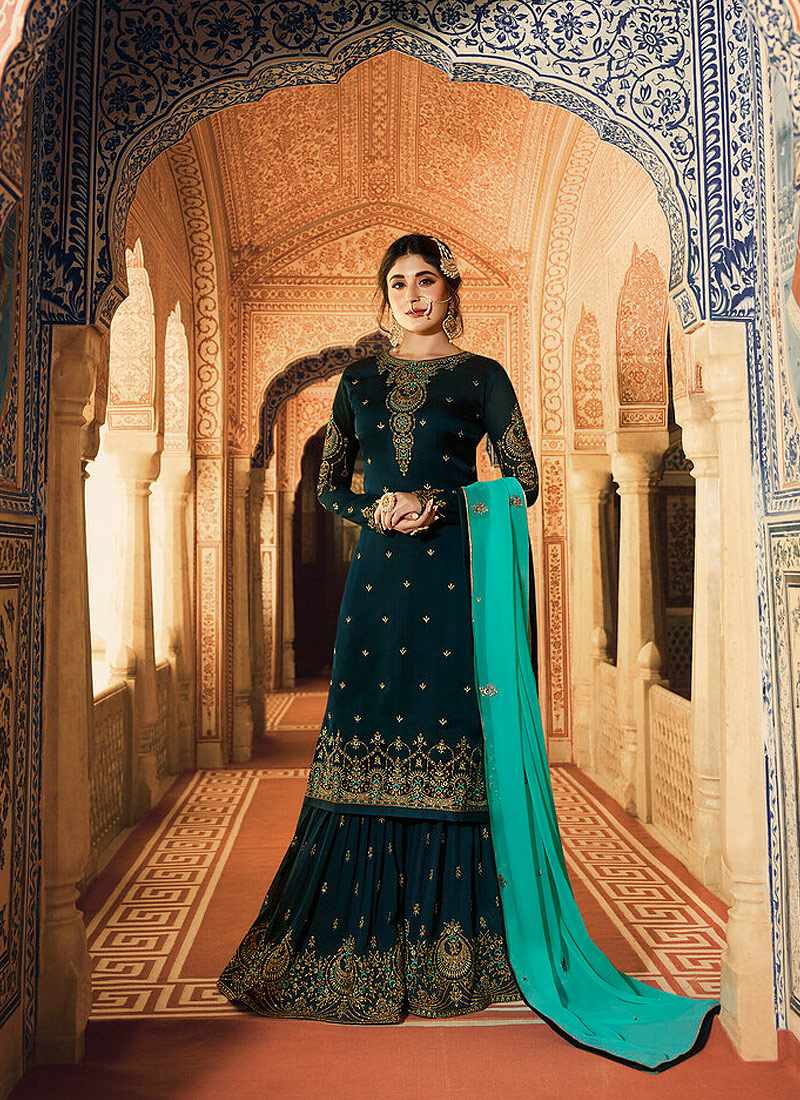 Dark Green and Gold Embroidered Gharara Suit