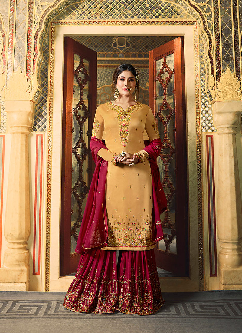 Yellow and Red Embroidered Gharara Suit