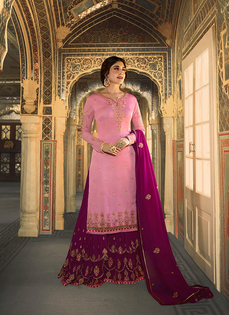 Light Pink and Magenta Embroidered Gharara Suit