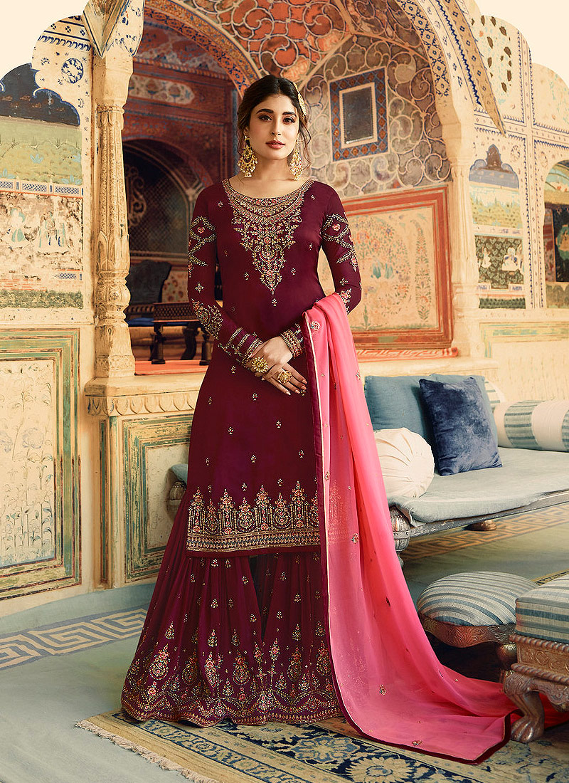 Maroon and Gold Embroidered Gharara Suit