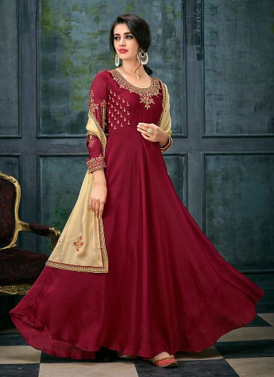 Red and Cream Embroidered Anarkali